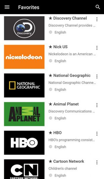 favorite and bookmarked channels