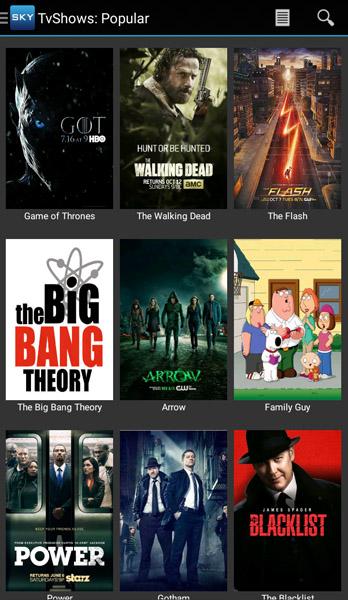 Programa de TV popular do aplicativo Sky HD
