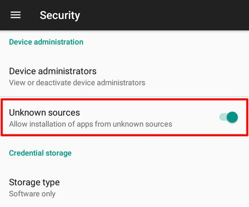 enable unknown sources app installation android