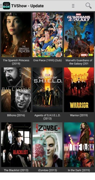 onebox hd tv shows section
