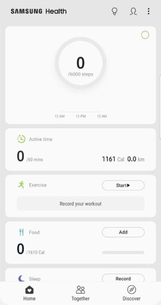 samsung health home screen