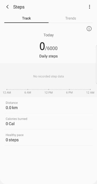 foot steps tracker in samsung health apk