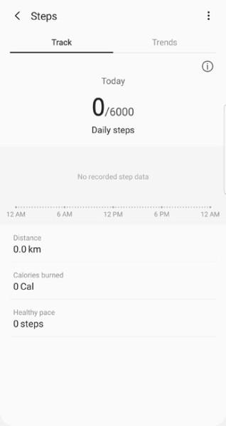 foot steps tracker in samsung health apk