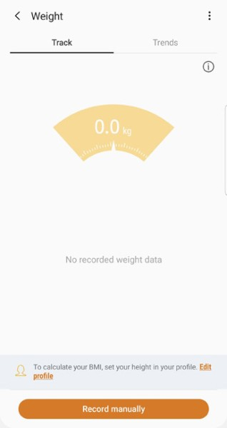 samsung health personal weight record and tracker