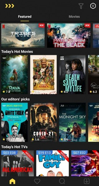 MovieBox Pro screenshot homescreen