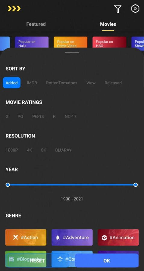 Advanced search box for movies