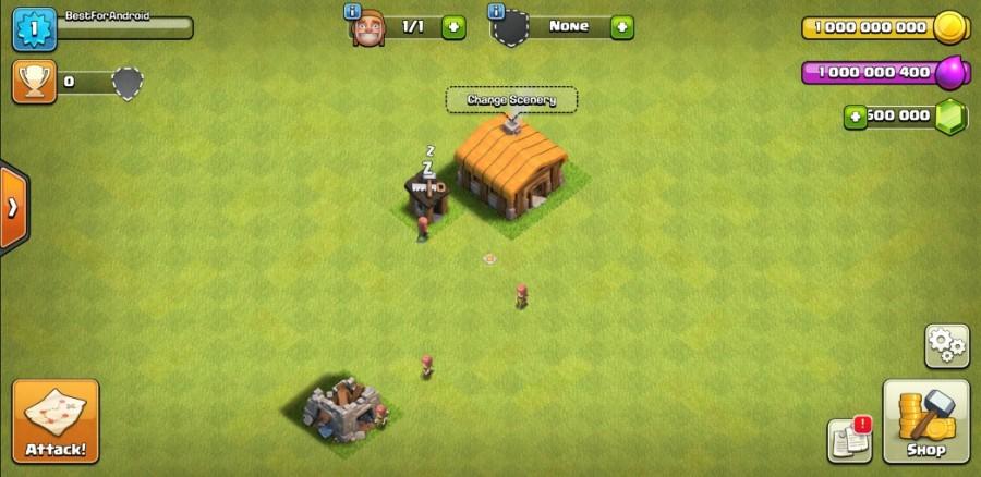 clash of clans village screenshot unlimited elixir, gems, coins