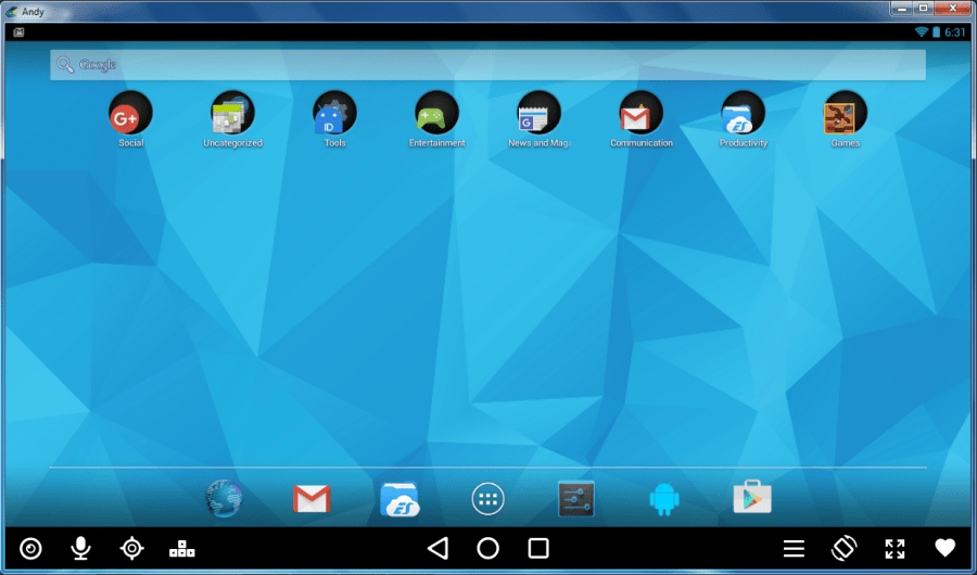 Andy OS - Homescreen - Android Apps On PC