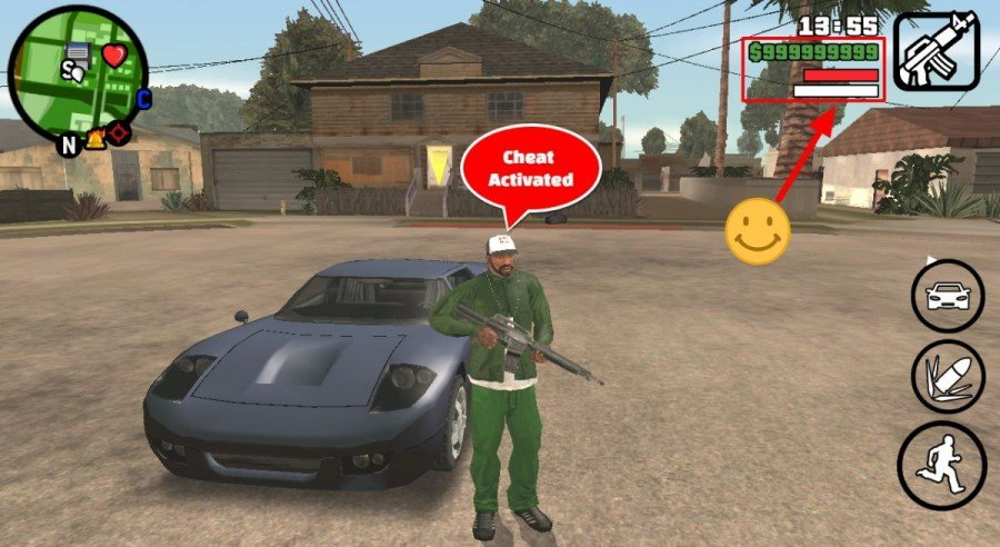 GTA SA Android cheats activated JCheater