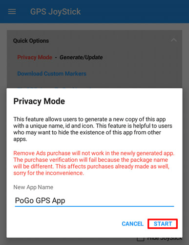 GPS JoyStick Privacy Mode app custom name