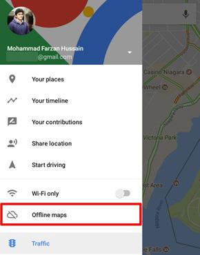 Google Maps offline maps menu