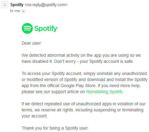 Modded Spotify Premium warning email