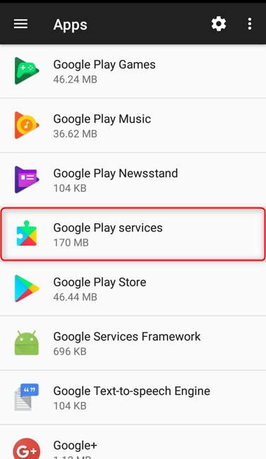 find and tap google play services