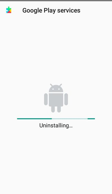 google play services uninstalled and reverted back to its original state