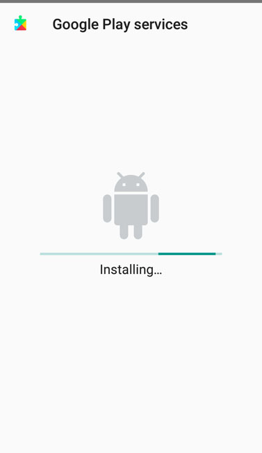 android will now begin installing your selected google play services