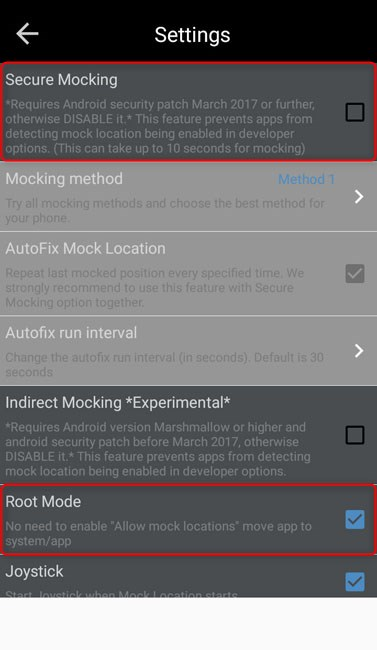 disable secure mock location and enable root mode
