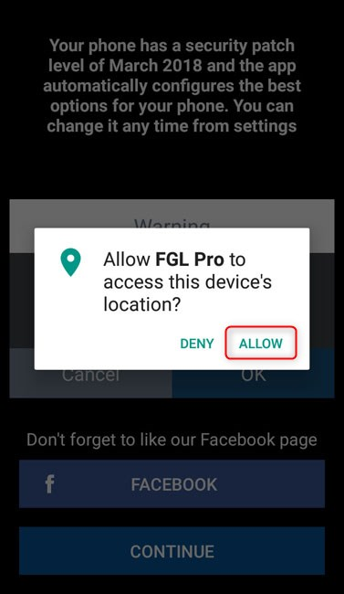 allow fgl pro access to device location