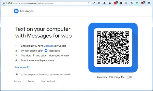 messages for web qr code