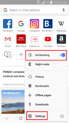 stop popup ads settings on Opera browser