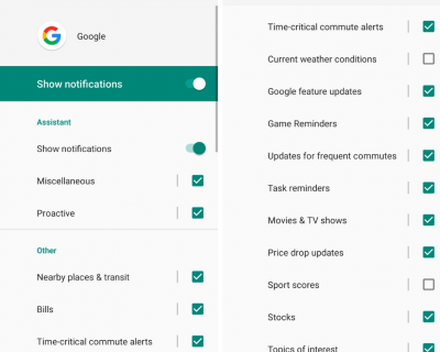Google mobile app notification options