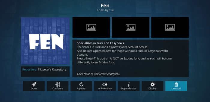 FEN Kodi addon to watch free TV shows and Movies