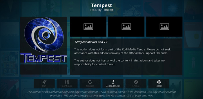 Tempest kodi addon for TV shows and movies