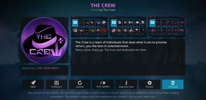 The Crew Addon for Kodi to stream movies and tv shows