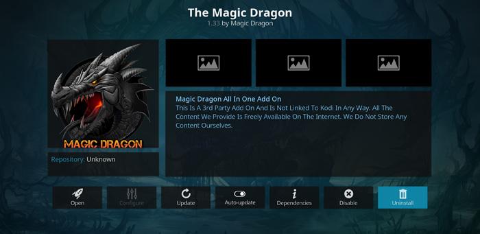 Watch movies and TV shows on magic dragon kodi addon