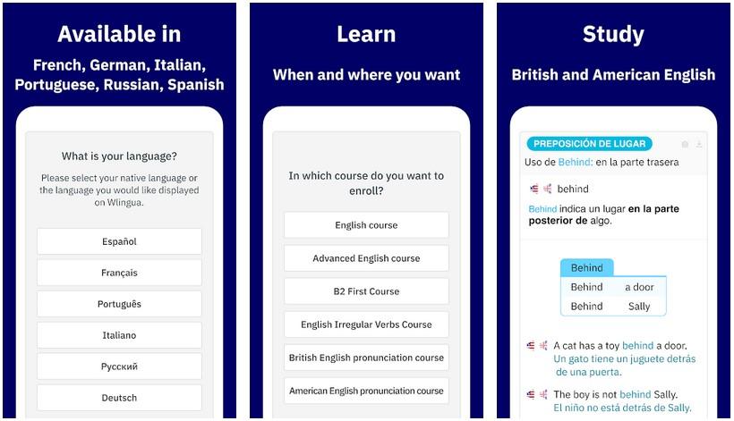 wlingua learn English screenshots