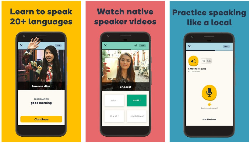 Memrise learn to communicate in English on Android