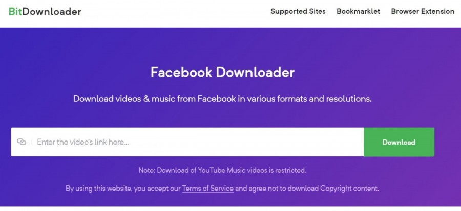 bitdownloader to download Facebook videos