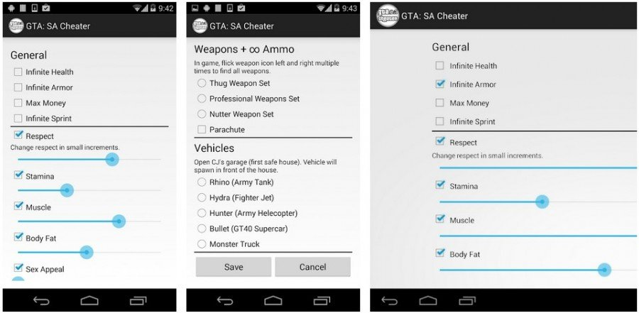 JCheater app for GTA San Andreas Android
