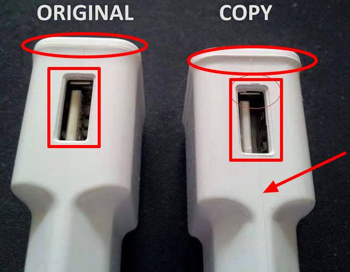 fake vs genuine charger