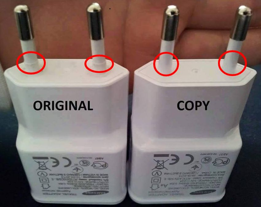 fake vs genuine charger plugs