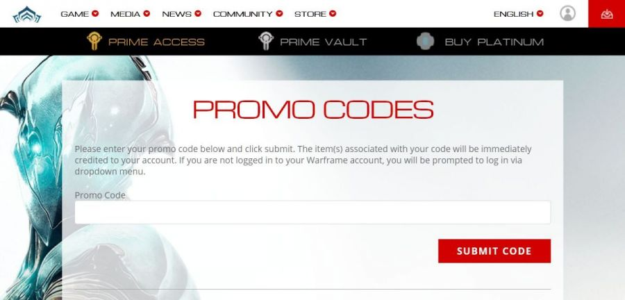 warframe promo codes official web page