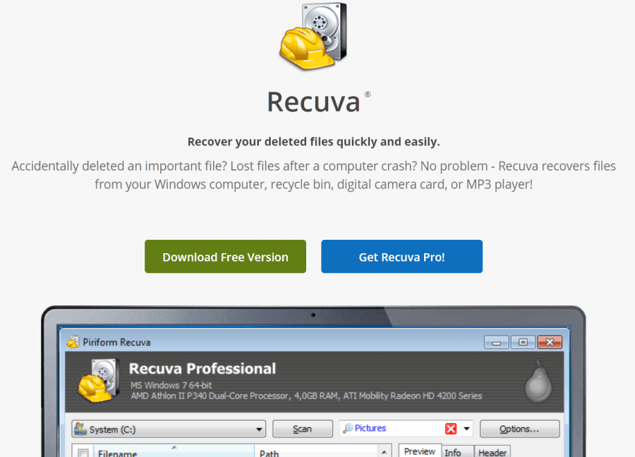recuva by piriform for Android data recovery
